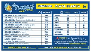 AQUAPARK bus playa blanca 2020