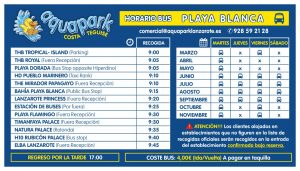 AQUAPARK - BUS PLAYA BLANCA 2018